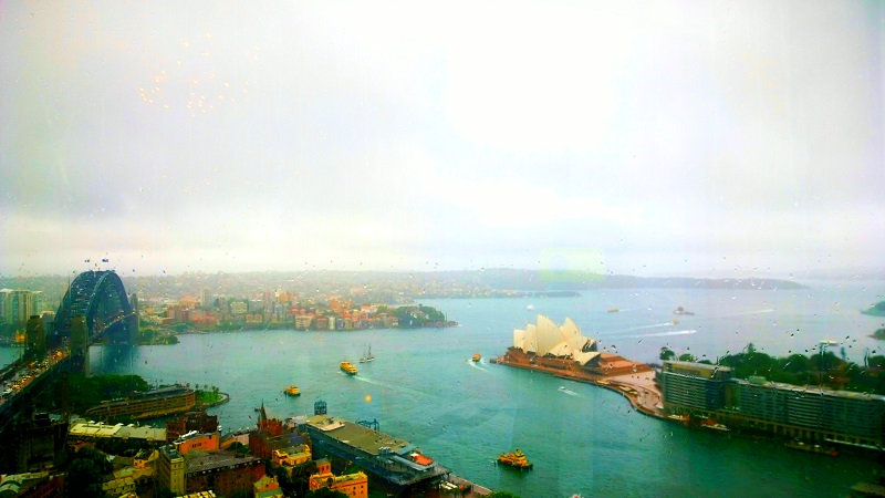 Sydney Harbor View and Dishes at Altitude Restaurant